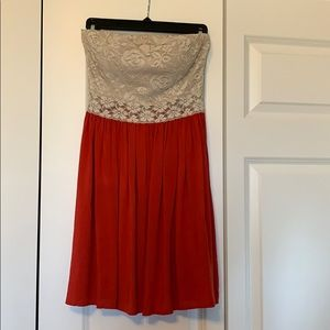 Mini spring/summer cream and coral dress